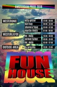 Amsterdam Gay Pride FunHouse Party DJ LineUp